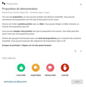 Démo Loomio - proposition de démonstration - itopie informatique, libre, éthique, citoyenne, Genève
