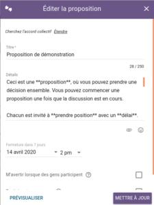 Démo Loomio - editer la proposition - itopie informatique, libre, éthique, citoyenne, Genève